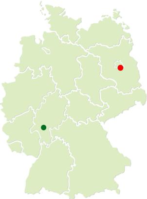Deutschlandkarte mit Hauptsitz und Niederlassung